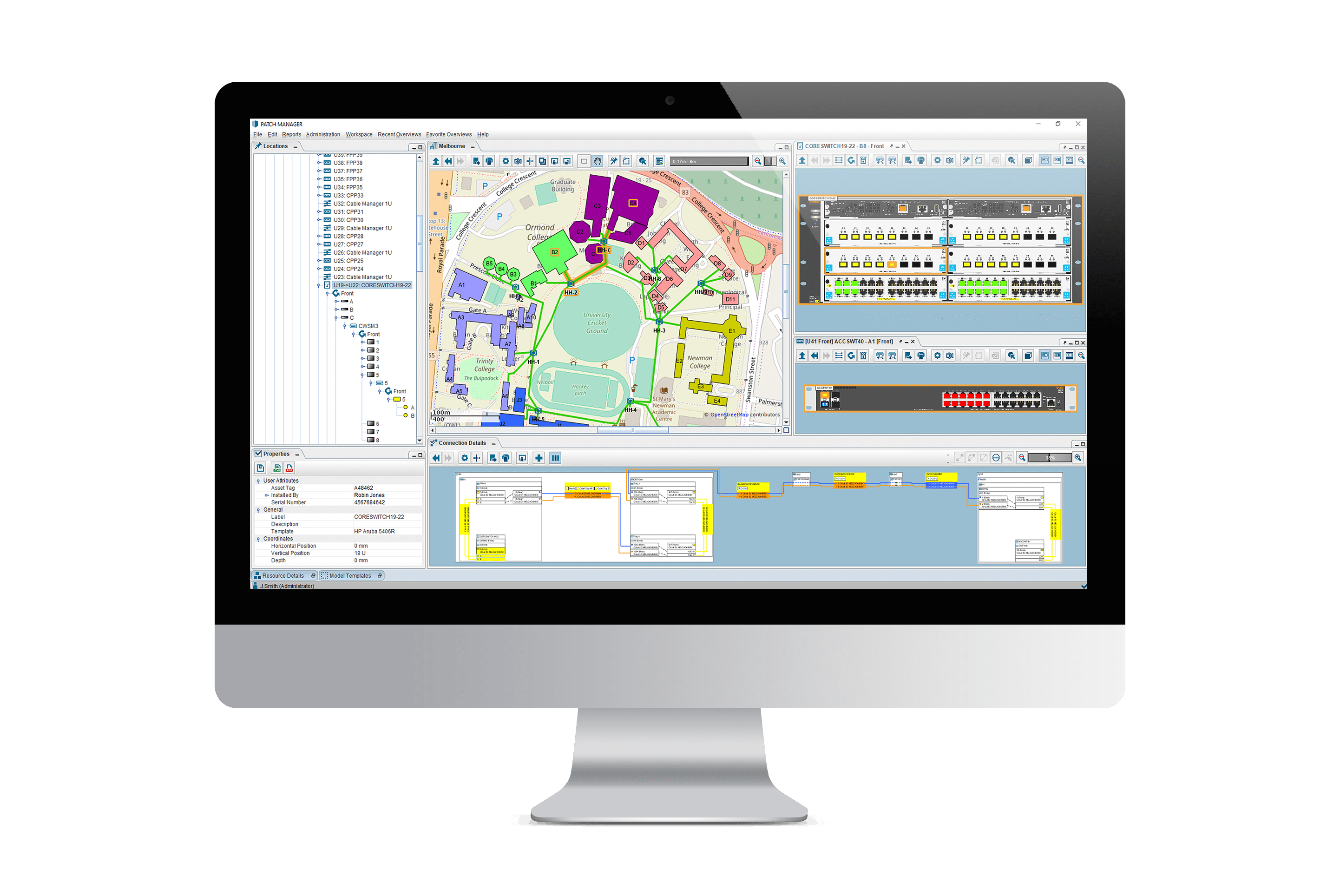 Computer screen with PATCH MANAGER campus overview